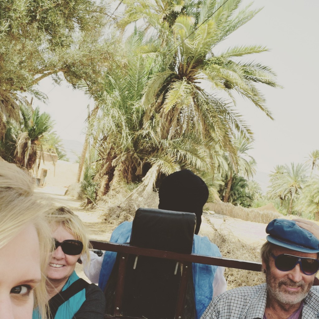 Anette, Peter and I on our docker ride to the nomads. palm oasis moroccan sahara western bungalow