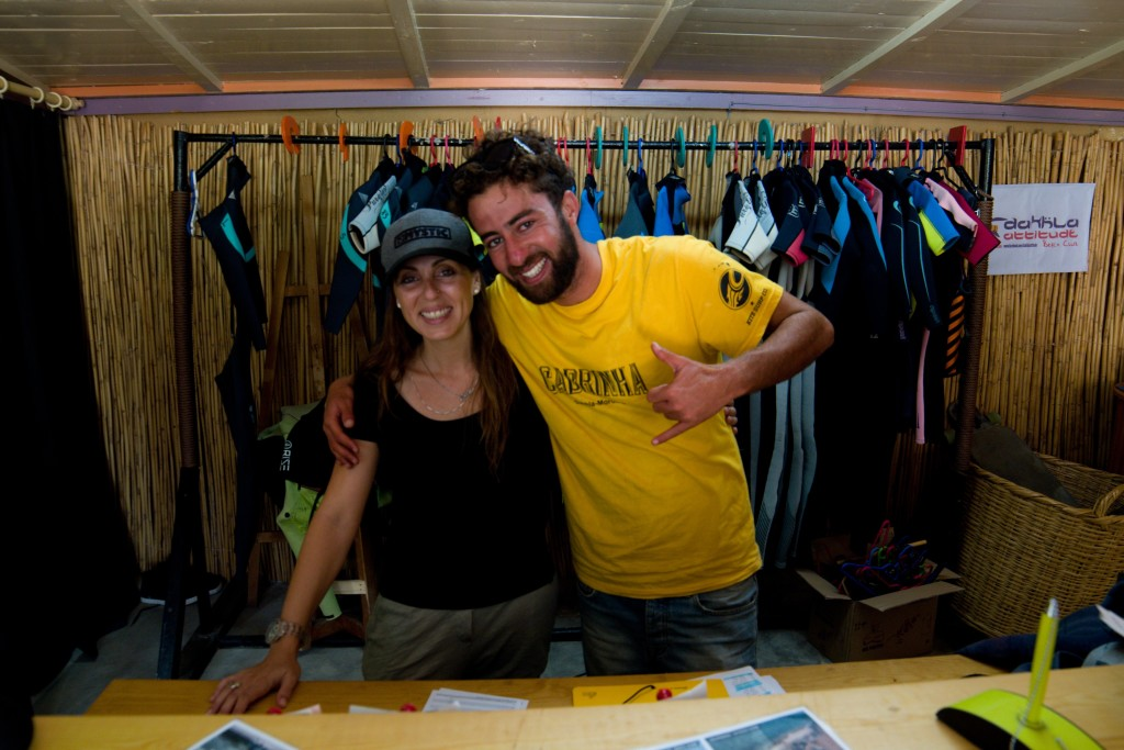 Sweet Laila and energetic Anouar in the surf shop