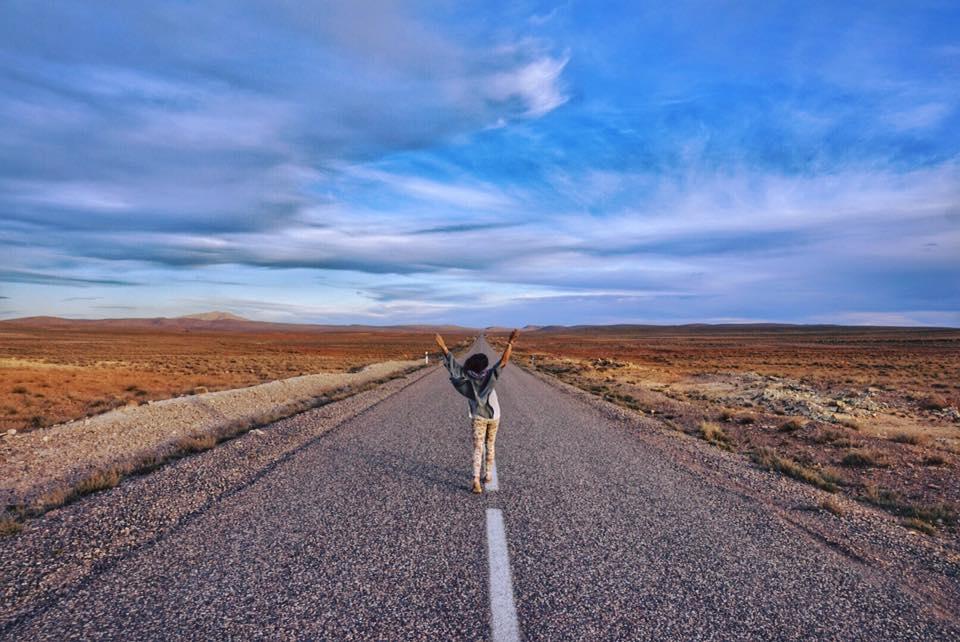 desert empty road on my way hostel girl morocco sahara