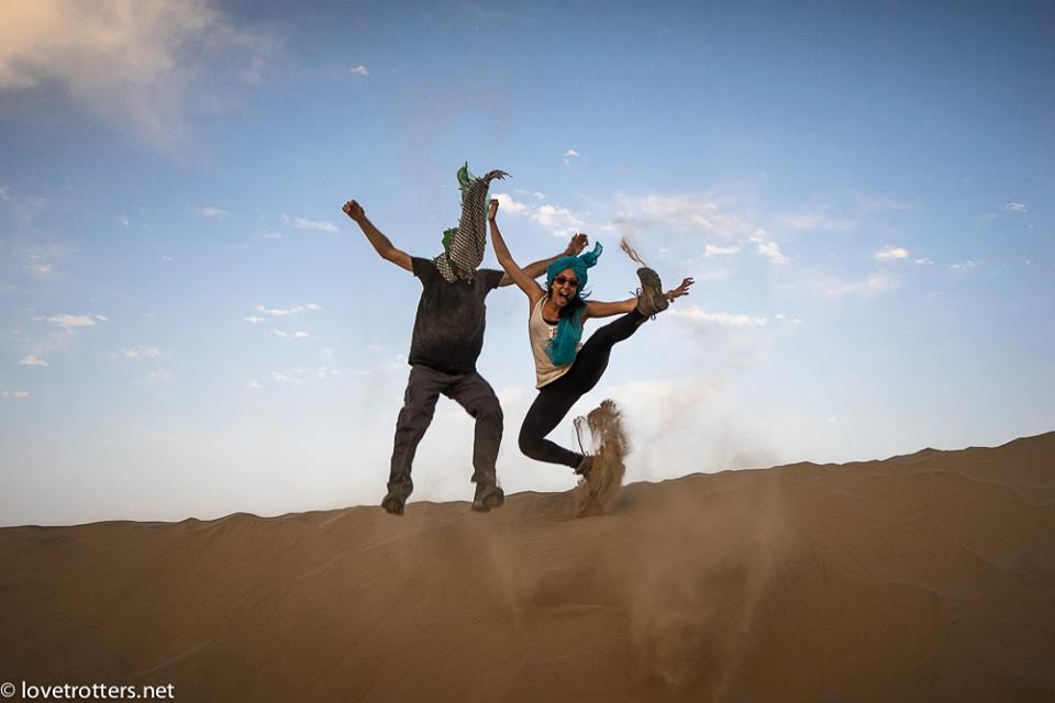 india desert indian sahara moroccan american blogger couple lover girl man husband wife happiness jump selfie