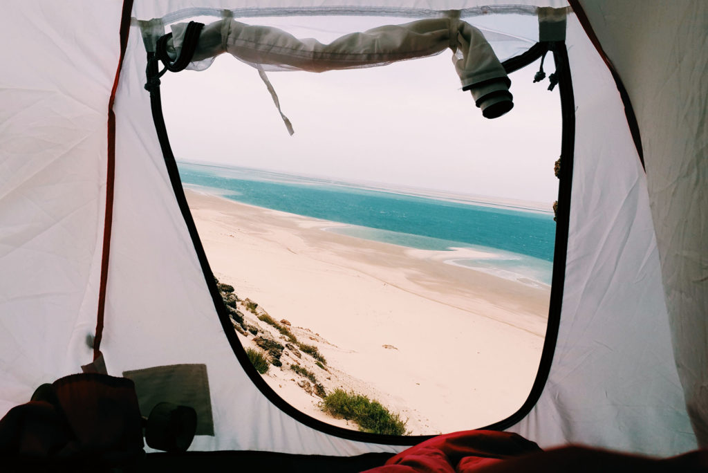 Tarik and his tent somewhere in Dakhla
