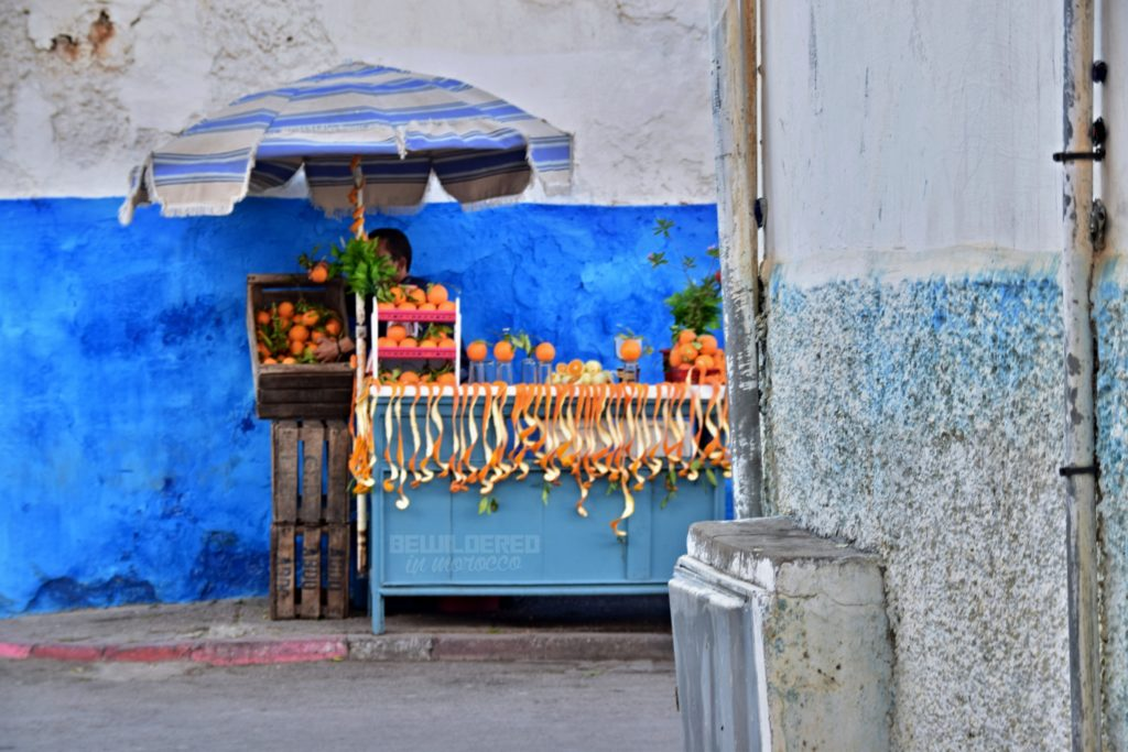 Painted door at Oudayas' Orange juice seller asbah