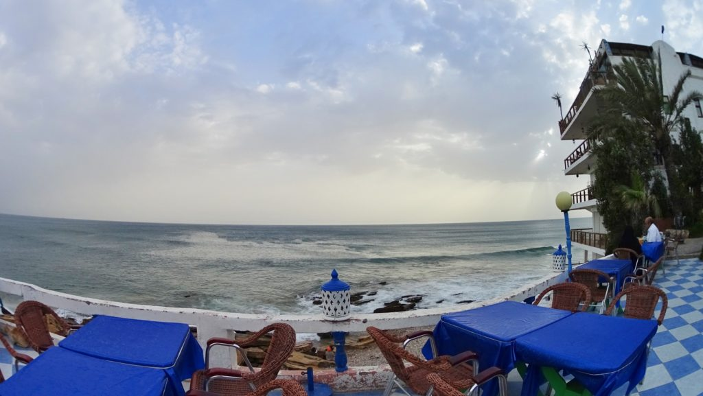 Waiting for the sunset in one of the cafes nearby taghazout panorama