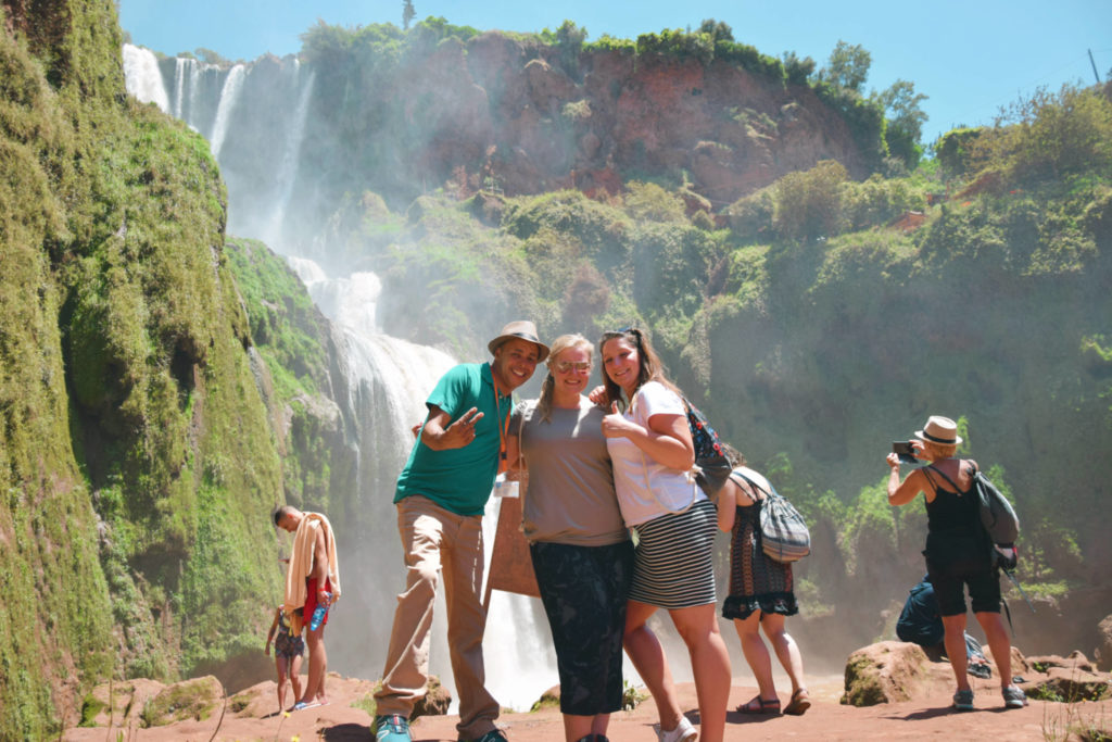 Ouzoud waterfalls, my bestie, our guide Yassine and I